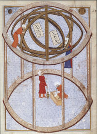 first image astronomers are conducting observations using a 5 3 metre armillary sphere in the late 16th century istanbul observatory